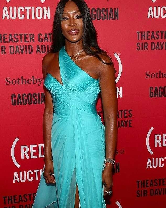 Наоми Кэмпбелл приехала на благотворительный аукцион в элегантном бирюзовом платье